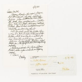 An autograph letter signed by Bobby Gibbes ('Bobby'), together with a signed cheque. Wing...