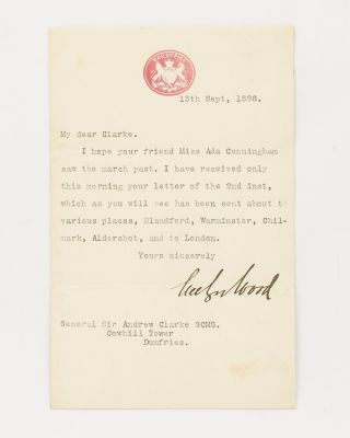 A typed letter signed by Evelyn Wood to General Sir Andrew Clarke GCMG. Evelyn WOOD FM VC GCB