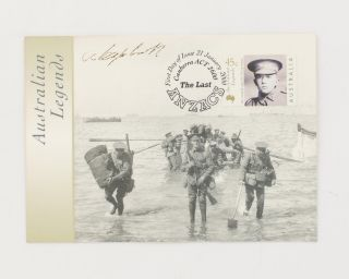 A First Day of Issue 'Australian Legends: The Last ANZACS' postcard signed by Alec Campbell. The...