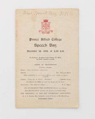 Prince Alfred College Speech Day. December 18, 1918 .. [cover title]. World War 1 Honour Roll