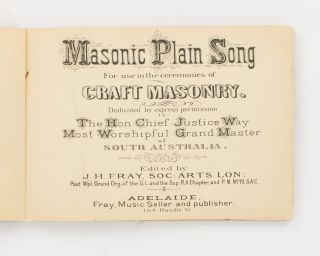 Masonic Plain Song for Use in the Ceremonies of Craft Masonry