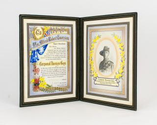 'Honor the Brave'. An elaborate illuminated testimonial presented to Mrs Alfred Robert Emerson...