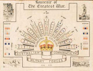 Souvenir of The Greatest War. Regimental Colours. Australian Commonwealth Military Forces...