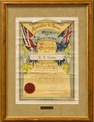 A decorative testimonial presented by the City of Hawthorn, certifying that 'D.D. Smith Served...