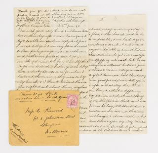 An interesting eight-page letter from 96 Trooper Henry Ernest Cooke, Victorian Mounted Rifles,...