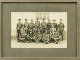 A group photograph of 19 members of the 22nd Battalion at Heliopolis in January 1916. 22nd Battalion