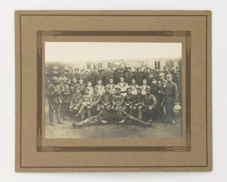 A Prisoner of War repatriation notice and four photographs relating to 1690 Private Ernest Herbert Murray Leonard