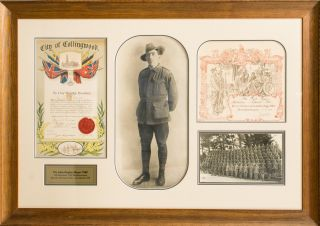 A very large framed presentation commemorating the war service of 7509 Private John Hugh Hayes,...