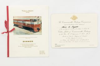 Dinner. To mark the occasion of handing over to the Commonwealth Railways the first...