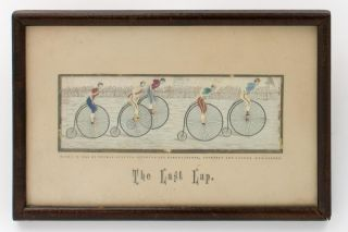The Last Lap [ [a landscape Stevengraph depicting five brightly-clad cyclists on penny-farthings,...