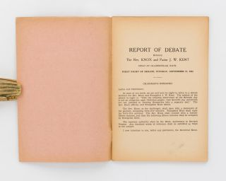 Report of Debate on 1. Is the Sabbath still binding on Christian People? 2. Are Seventh-day Adventists justified in forming a Separate Sect? Between the Rev. Knox and Pastor J.W. Kent, held at Gladesville, NSW, 17th and 18th September, 1935 [cover title]