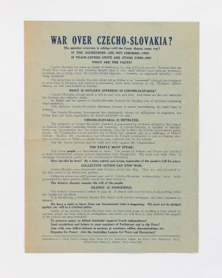 War over Czecho-Slovakia? The question everyone is asking - will the Czech dispute mean war? If...