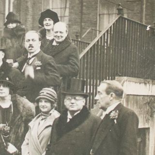 A vintage photograph of Winston Churchill, taken after the formal signing of the Locarno Pact, 1 December 1925