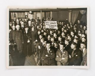 A vintage photograph featuring Salvation Army General Bramwell Booth and some of the 'ninety boys...
