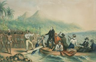 The Reception of the Rev. J. Williams at Tanna, in the South Seas, the day before he was massacred. [Together with] The Massacre of the Lamented Missionary, the Rev. J. Williams, and Mr. Harris