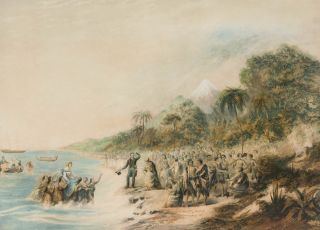 The Rev. ... Waterhouse Superintending the Landing of the Missionaries at Taranaki, New Zealand