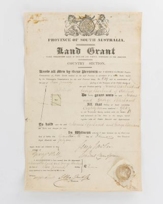 Province of South Australia. Land Grant under Preliminary Sales in England and Partial Purchase...