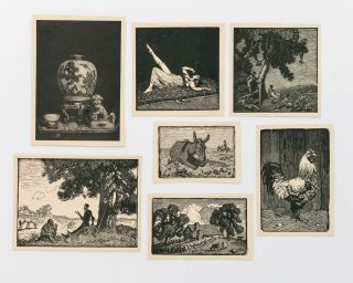 A selection of seven small woodcuts from 'A Book of Woodcuts. Drawn on Wood and engraved by...