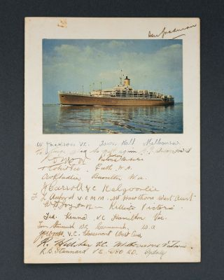A dinner menu from SS 'Orcades' signed by 14 Australian recipients of the Victoria Cross, en...