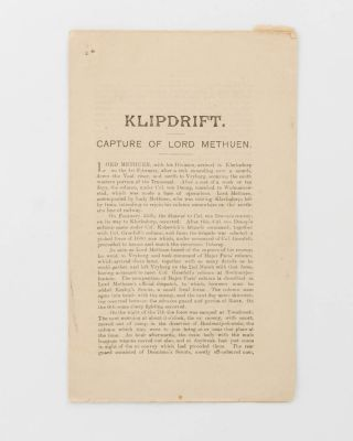 Klipdrift. Capture of Lord Methuen [drop title]. Boer War, Lieutenant General Lord METHUEN