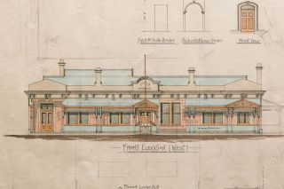 'Proposed Club House at Tanunda - for the Club Committee' [an original large hand-coloured architectural drawing]