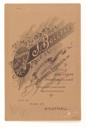 An albumen paper cabinet photograph (image size 140 × 100 mm) laid down on the silver-embossed card of Bolland of Hanwell