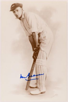 A large-format printed postcard (160 × 115 mm) of Don Bradman, based on a 1928 photograph in the...