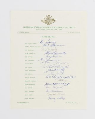 An official Australian Board of Control for International Cricket autograph sheet for the...