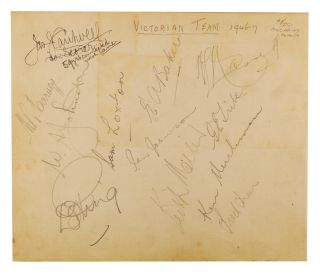 A detached autograph album leaf (165 × 195 mm) signed in pencil by the MCC touring team to Australia at the time of the First Test in Brisbane, 29-30 November and 2-4 December 1946 - the first post-war Test, and the first English visit for ten years