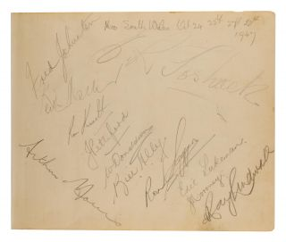 A detached autograph album leaf (165 × 200 mm) signed in pencil by the NSW team for the match...