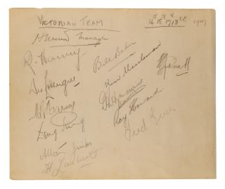 A detached autograph album leaf (165 × 200 mm) signed in pencil by the NSW team for the match against Queensland, 24-28 October 1947 (SSM 354)