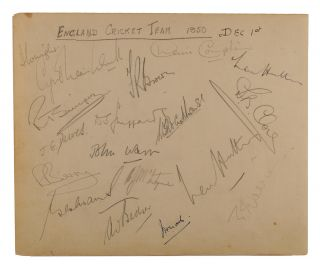 A detached autograph album leaf (165 × 200 mm) signed (mainly) in pencil by the touring MCC team...