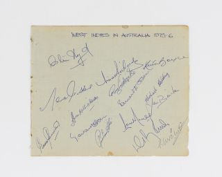 A detached autograph album leaf (165x200mm) signed in ink by fifteen members of the West Indies...