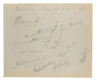 A detached autograph album leaf (165 × 200 mm) signed in pencil by the Australian team for the...