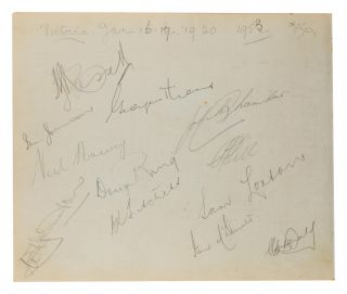 A detached autograph album leaf (165 × 200 mm) signed in pencil by the Australian team for the First Test against South Africa in Brisbane, 5-10 December 1952