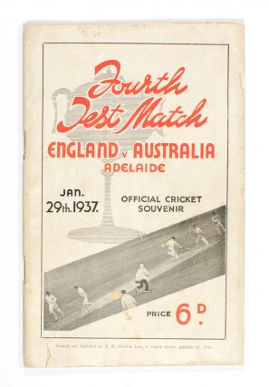Official Souvenir of the English Cricketers' Visit to Adelaide. Fourth Test Match commencing...
