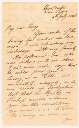 An autograph letter signed by William Parry ('W. Parry') to 'My dear King' (the Reverend Arthur Septimus King, son of Captain Phillip Parker King), regarding assistance with finding him a curacy