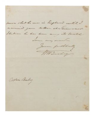 An autograph letter signed (small quarto, 2 pages; Holyhead, 12 January 1840) to an unidentified recipient