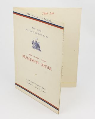 Adelaide District Cricket Club. A Grade - B Grade - C Grade Premiership Dinner ... 20th May 1959 [cover title]