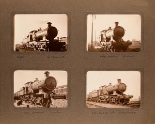 An album of photographs of British steam trains. The cloth-bound album (200 x 275 mm) contains 96...