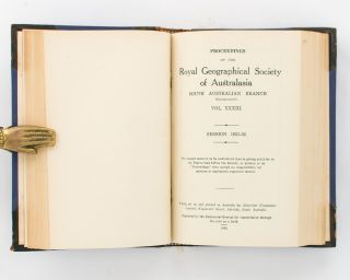 From South Australia to Port Darwin with Sheep and Cattle in 1870-71. [Contained in] Proceedings of the Royal Geographical Society of Australasia, South Australian Branch, Volume 32, 1932