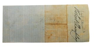 Two early items associated with the Bank of South Australia are offered together. (1) A manuscript personal promissory note (90 x 167 mm) dated Adelaide, 24 October 1840 - 'Three months after date pay to my order Thirty Pounds value received. F.W. Allen. To C.W. Stuart Esqre'. Stuart has written across it 'Accepted Payable at the Bank of South Australia'. It was subsequently stamped by the Bank of South Australia, Adelaide when it was paid on 27 January 1841. The verso is endorsed by F.W. Allen, C. Crispe and 'For the Bank of South Australia Edwd Stephens Manager'. Apart from two vertical creases and a tiny spike hole, it is in fine condition. (2) A printed Bank of South Australia cheque (80 x 180 mm, printed by Batho and Bingley, London) with manuscript insertions - 11 February 1841, from C.W. Stuart to Harry Lechahdee[?] for 3 pounds. A bank stamp on it indicates it was paid out in Adelaide on 15 February 1841. It is endorsed on the verso by Robert Champlay, an indecipherable signature and three small Xs. It is lightly creased, with a tiny spike hole; on the verso, there is a discoloured band denoting the outer surfaces when the item was originally folded; essentially it is in excellent condition. It goes without saying that these are utterly rare ephemeral items, dating from when the colony was barely four years old. However, because of this, we are able to identify most of the signatories, thus giving these trifles much greater weight