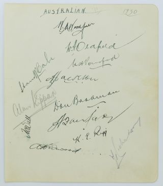 A detached autograph album leaf (195 × 165 mm) signed (mainly in ink) by twelve members of the...