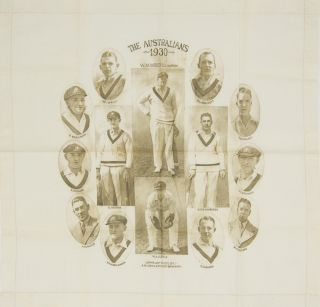 A linen handkerchief (405 × 425 mm) produced to commemorate the 1930 tour of England by the...