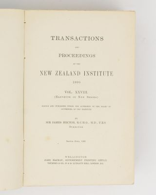 Transactions and Proceedings of the New Zealand Institute, 1895. Vol. XXVIII (Eleventh of New Series)