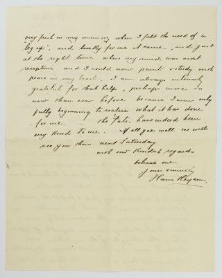 """An autograph letter signed to 'Dear Mrs Wholahan'; quarto, two pages, Ambleside [Hahndorf], Sunday (undated, probably 1930s, but not later than 1936 when Ambleside reverted to its original name); creased where folded for posting; in fine condition. After arrangements for an impending visit are discussed, Heysen writes 'It is good to feel someone has a heart for the Struggling Art Student.. I shall be very glad to fulfill the position of Trustee .. The time is still fresh in my memory when I felt the need of a """"leg-up"""", and lucky for me it came, and just at the right time, when my mind was most receptive and I could paint & study with peace in my heart'"""