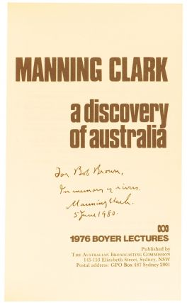 A Discovery of Australia. 1976 Boyer Lectures