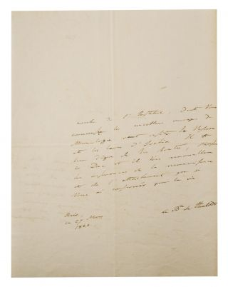 An autograph letter signed ('Le Bn de Humboldt') to an unidentified 'Monsieur le Duc'; it is a letter of introduction for the geologist [Alexandre] Brongniart. Paris, 27 March 1820; small quarto, 2 pages, with a conjugate blank leaf; thin strip of tissue-paper on the outside rear page, and minimal loss to this blank leaf near the centre of the hinge (both as a result of having been mounted in, then removed from, an album); light creases where folded in four for posting; in excellent condition