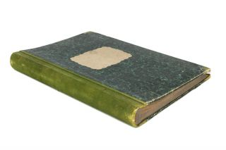 A large nineteenth century scrapbook (430 × 310 mm, half suede and marbled papered boards, with 140 leaves) containing 66 samples of fabric (circa 1870) mounted one to a page on 69 (almost) consecutive pages