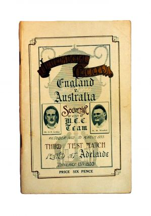 Souvenir of English Cricketers' Visit to Adelaide. Third Test Match. January 13, 1933. Cricket,...